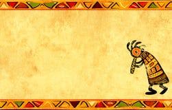 De achtergrond van Grunge met Afrikaanse patronen Royalty-vrije Stock Afbeeldingen