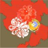 De achtergrond van Grunge met bloemen stock illustratie