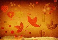 De achtergrond van Grunge met bloemen Stock Afbeeldingen