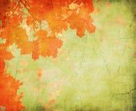 De achtergrond van Grunge met de herfstbladeren Stock Foto