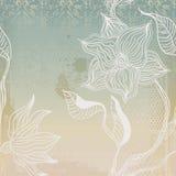 De achtergrond van Grunge met hand-drawn naadloze bloemen Stock Afbeeldingen