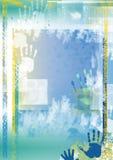 De achtergrond van Grunge met handen Stock Afbeeldingen