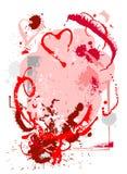 De achtergrond van Grunge met harten Stock Afbeeldingen