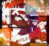 De achtergrond van Grunge met kleurrijke verkeersteken Stock Afbeelding