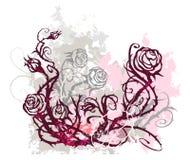 De achtergrond van Grunge met rozen Royalty-vrije Stock Afbeelding