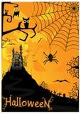 De achtergrond van Halloween met knuppelsspinnen en uilen Stock Afbeeldingen