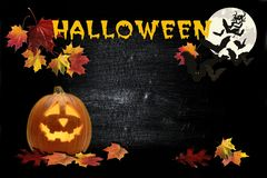 De achtergrond van Halloween met pompoenen en knuppels vector illustratie
