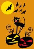 De achtergrond van Halloween met pompoenenknuppels, kat en F stock illustratie