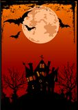 De achtergrond van Halloween met spookhuis Stock Afbeelding