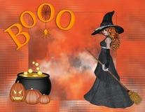 De Achtergrond van Halloween van het Boe-geroep van de heks Stock Afbeelding