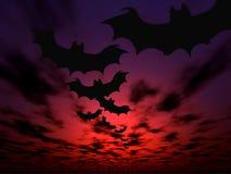 De achtergrond van Halloween. Vliegende knuppels Stock Foto