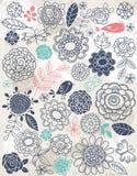 De achtergrond van hand trekt bloemen en insecten Royalty-vrije Stock Afbeeldingen