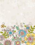 De achtergrond van hand trekt bloemen, vector royalty-vrije illustratie
