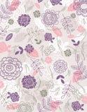 De achtergrond van hand trekt bloemen, vector stock illustratie
