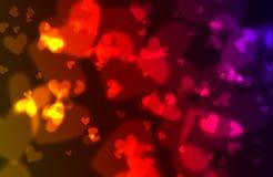 De achtergrond van harten bokeh Stock Fotografie
