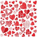De achtergrond van hartvormen Stock Afbeelding