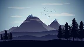 De achtergrond van het aardlandschap met silhouetten van bergen en bomen Royalty-vrije Stock Afbeelding