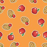De achtergrond van het appeltaartpatroon Zoete en smakelijke gebakken vlaai van rood appelen naadloos patroon stock illustratie