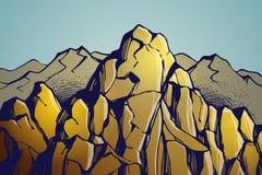 De achtergrond van het berglandschap Stock Foto's