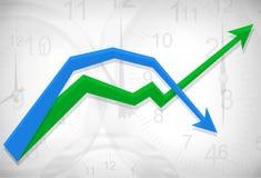 De achtergrond van het businesdiagram van klokken Royalty-vrije Stock Fotografie