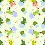 De achtergrond van het cactuspatroon Naadloos patroon met leuke cactus royalty-vrije illustratie