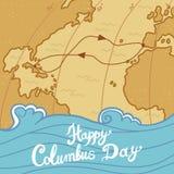 De achtergrond van het de dagconcept van Columbus, hand getrokken stijl vector illustratie