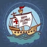 De achtergrond van het de dagconcept van schipcolumbus, hand getrokken stijl stock illustratie