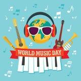 De achtergrond van het de dagconcept van de wereldmuziek, vlakke stijl vector illustratie