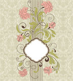 De achtergrond van het damast, uitnodigingskaart Royalty-vrije Stock Fotografie