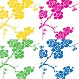 De achtergrond van het de bloempop-art van de kers Stock Afbeeldingen