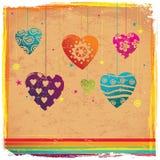 De achtergrond van het de kleurenhart van uitstekende Vilentine Stock Afbeeldingen