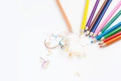 De achtergrond van het de kunstconcept van de potloodkleur leeg voor tekst of exemplaar horiz Stock Afbeelding