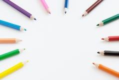 De achtergrond van het de kunstconcept van de potloodkleur leeg voor tekst of exemplaarexemplaar royalty-vrije stock afbeelding