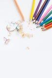 De achtergrond van het de kunstconcept van de potloodkleur leeg voor tekst of exemplaarverti Stock Afbeelding