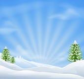 De achtergrond van het de sneeuwlandschap van Kerstmis Stock Fotografie