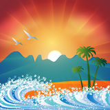 De achtergrond van het de vakantiestrand van de zomer Stock Afbeeldingen