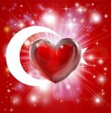De achtergrond van het de vlaghart van Turkije van de liefde Royalty-vrije Stock Afbeelding