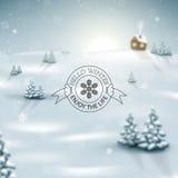 De Achtergrond van het de winterlandschap met Sneeuwvlokken Stock Fotografie