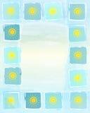 De achtergrond van het de zomerkader met gele zonnen in vierkanten Royalty-vrije Stock Afbeeldingen