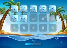 De achtergrond van het eilandspel met gebruikersinterface vector illustratie