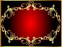 De achtergrond van het frame met gouden (en) windend patroon Stock Foto's