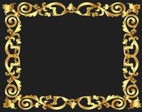 De achtergrond van het frame met gouden plantaardig patroon Royalty-vrije Stock Fotografie