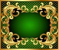 De achtergrond van het frame met gouden plantaardig patroon Stock Foto