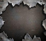 De achtergrond van het Grungemetaal met gescheurde randen Stock Foto