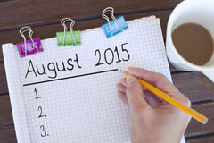 De achtergrond van het het planconcept van augustus 2015 Royalty-vrije Stock Afbeelding