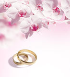 De achtergrond van het huwelijk met de ringen Royalty-vrije Stock Afbeeldingen