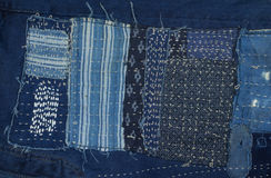 De achtergrond van het jeanslapwerk, denimlapwerk Royalty-vrije Stock Afbeeldingen