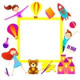 De achtergrond van het jong geitjebeeldverhaal Het karakter van het pretkind, banner Royalty-vrije Stock Fotografie