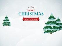De achtergrond van het Kerstmislandschap met bomen en sneeuw Royalty-vrije Stock Fotografie