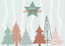 De achtergrond van het Kerstmislandschap met sneeuw en boom, Kerstmis en Nieuwjaarachtergrond, Vectorillustraties Stock Afbeelding